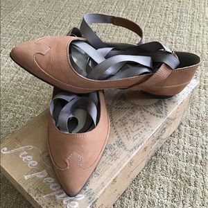 Free People Taupe Presley Wrap Flats Size 7